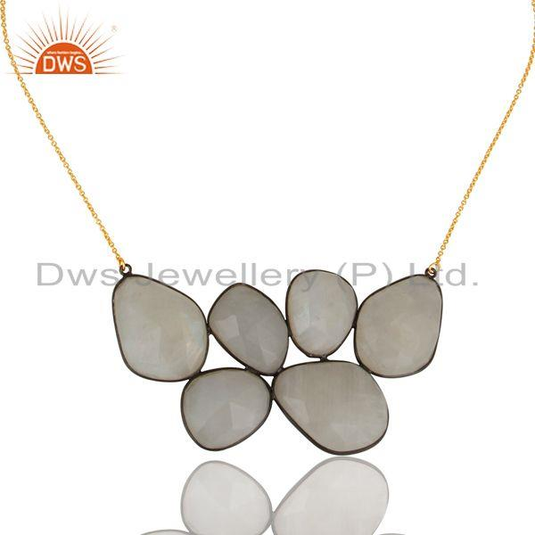 Exporter 18K Gold Plated & Black Oxidized 925 Sterling Silver Rainbow Moonstone Necklace