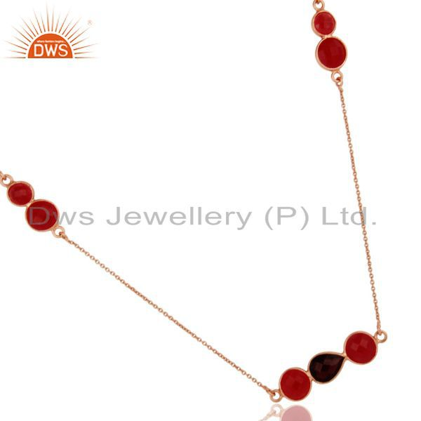 Exporter 18K Rose Gold Plated Sterling Silver Red Aventurine And Garnet Chain Necklace