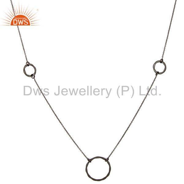 Suppliers Oxidized Sterling Silver Handmade Round Hammered Circle Link Necklace