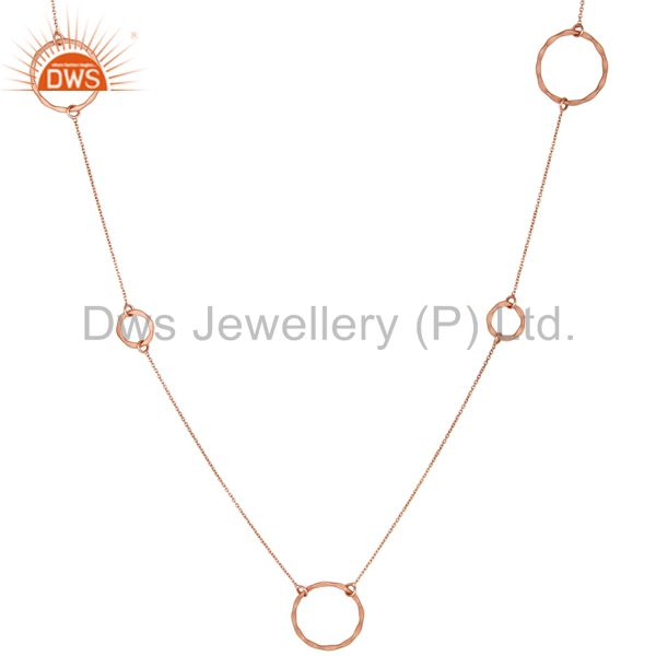Suppliers Rose Gold Plated Sterling Silver Handmade Round Hammered Circle Link Necklace