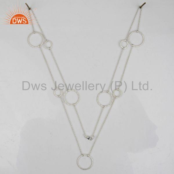 Exporter Round Hammered Circle Link Handmade Sterling Silver Silver Plated Long Necklace