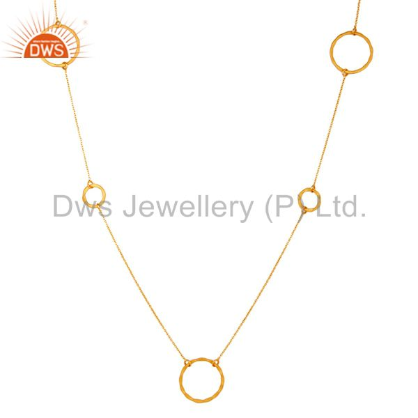 Suppliers 18K Gold Plated Sterling Silver Handmade Round Hammered Circle Link Necklace
