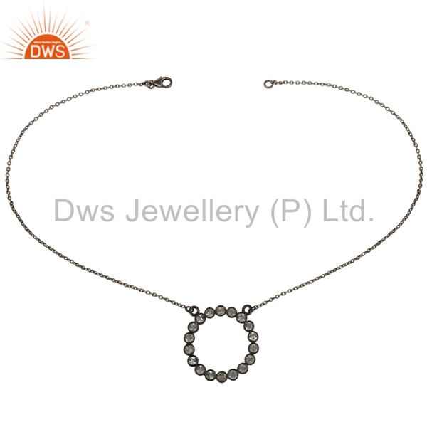 Exporter Black Oxidized 925 Sterling Silver Handmade White Topaz Chain Pendant Necklace