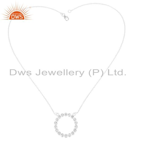 Exporter Solid 925 Sterling Silver Handmade White Topaz Chain Pendant Necklace Jewelry