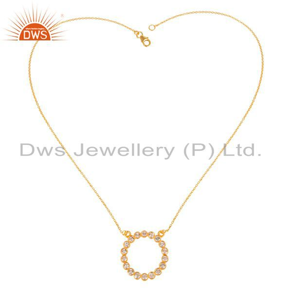 Exporter 14K Yellow Gold Plated 925 Sterling Silver Handmade White Topaz Chain Pendant