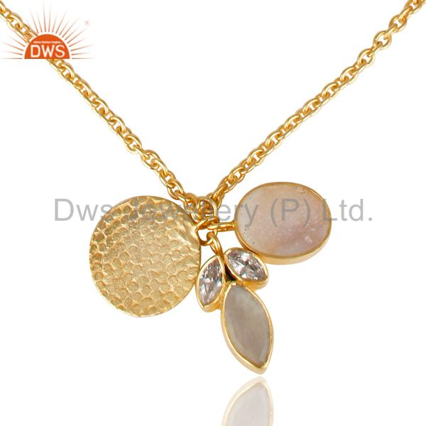 Exporter 14K Gold Plated Rainbow Moonstone Druzy & CZ 28 Inch Chain Brass Necklace