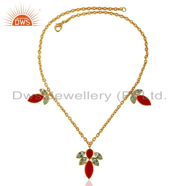 Exporter Pink Chalcedony Gemstone CZ Gemstone Brass Fashion Necklace Supplier