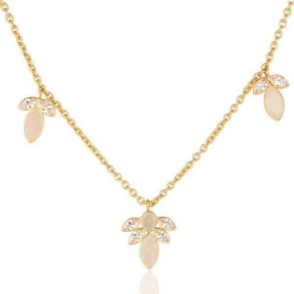 Exporter 14K Gold Plated Rainbow Moonstone & White Zirconia 16 Inch Chain Brass Necklace