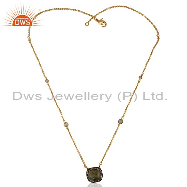 Exporter Labradorite Gemstone CZ Gold Plated Chain Fashion Pendant Manufacturer