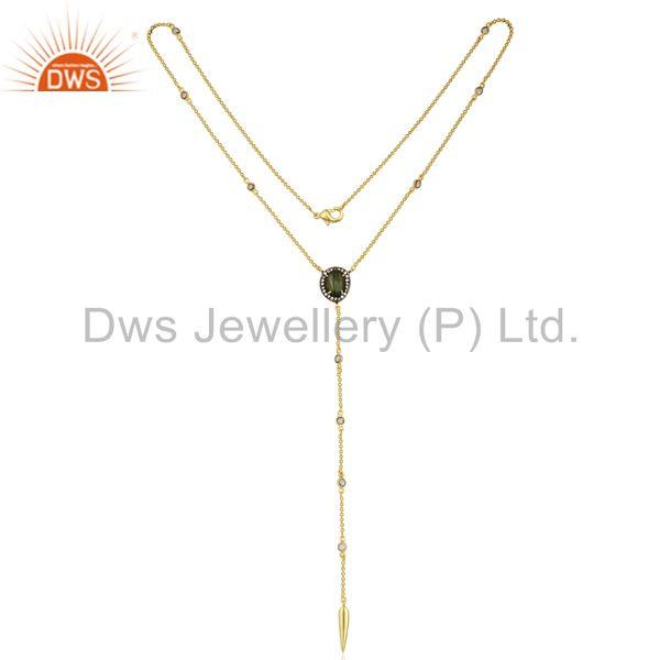 Exporter Gold Plated CZ and Labradorite Gemstone Fashion Chain Necklace Jewelry