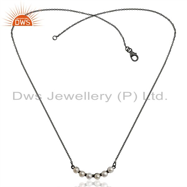 Exporter Pearl Black Oxidized 925 Sterling Silver Chain Necklace Gemstone Jewelry