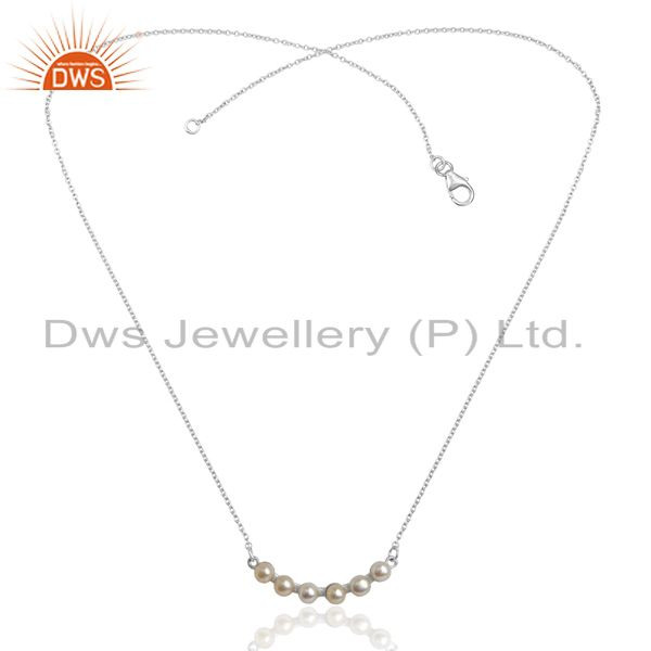 Exporter Pearl 925 Sterling Silver Chain Necklace Gemstone Jewelry