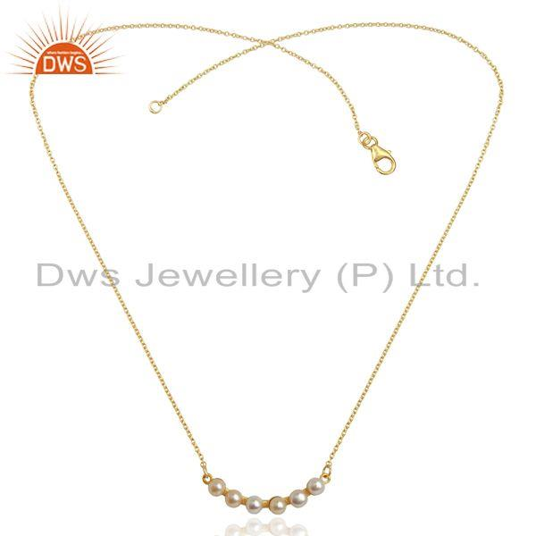 Exporter Pearl 18K Yellow Gold Plated 925 Sterling Silver Chain Necklace Jewelry