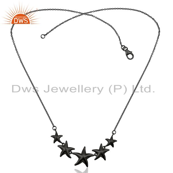 Exporter Handmade Star Design Black Oxidized 925 Sterling Silver Chain Necklace Jewelry