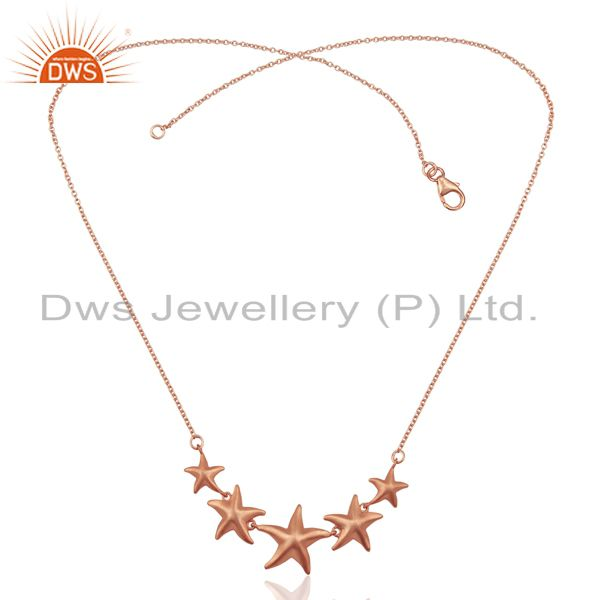 Exporter Handmade Star Design 18K Rose Gold Plated Sterling Silver Chain Necklace Jewelry