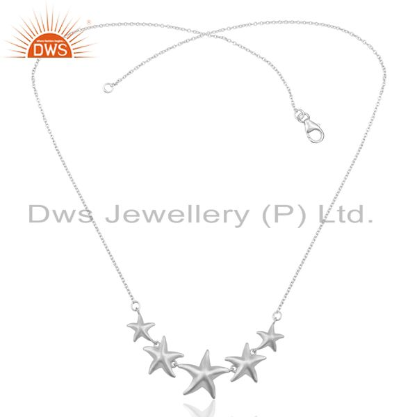 Exporter Handmade Starfish 5 Motif  925 Sterling Silver Silver Plated  Statement Necklace