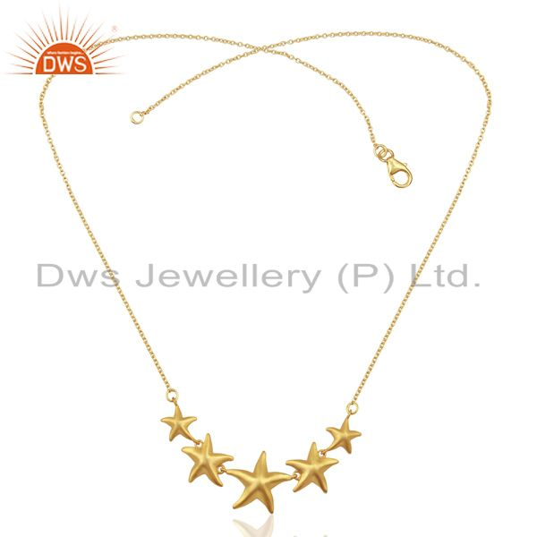 Exporter Handmade Star Design 18K Gold Plated 925 Sterling Silver Chain Necklace Jewelry