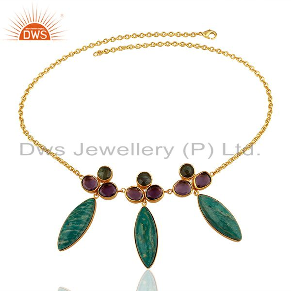 Exporter Wholesale Amazonite Gemstone Gold Plated Womens Chain Necklace