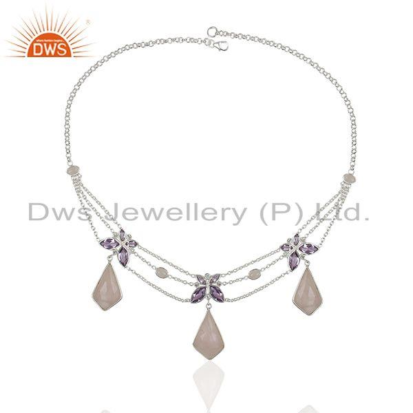 Wholesalers Amethyst and Rose Quartz Gemstone 925 Silver Necklace Manufacturers
