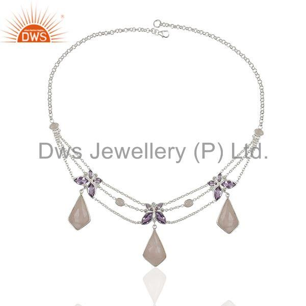 Exporter Amethyst and Rose Quartz Gemstone 925 Silver Necklace Manufacturers