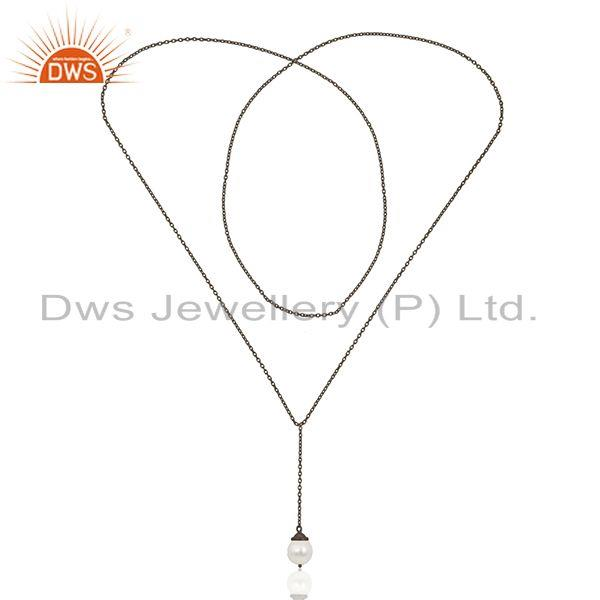Exporter Black Rhodium Plated 925 Silver Handmade 24inch Chain Necklace Pendant Wholesale