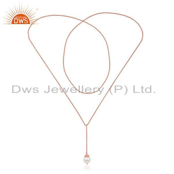 Exporter Rose Gold Plated Sterling Silver Natural Pearl 24inch Chain Necklace Pendant