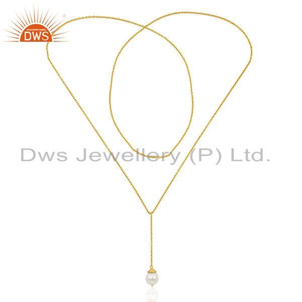 Exporter Natural Pearl 925 Sterling Silver Gold Plated Chain Pendant Neklace Manufacturer