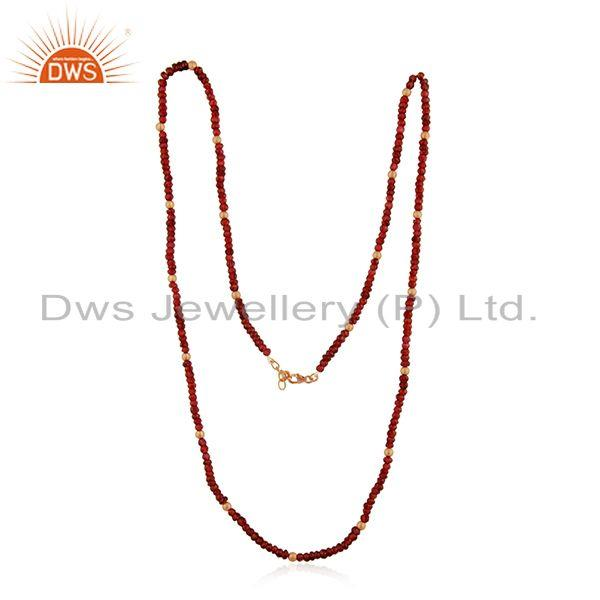 Exporter Beaded Garnet Gemstone Yellow Gold Plated 925 Silver Necklace Manufacturer India