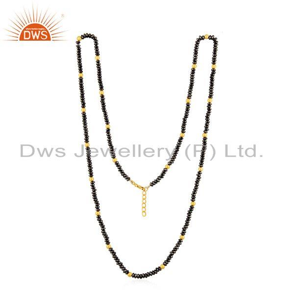 Exporter Yellow Gold Plated 925 Silver Hematite Gemstone Beaded Necklace Manufacturer