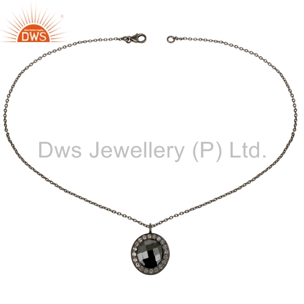 Exporter Black Oxidized 925 Sterling Silver Hematite & White Topaz Chain Pendant Necklace