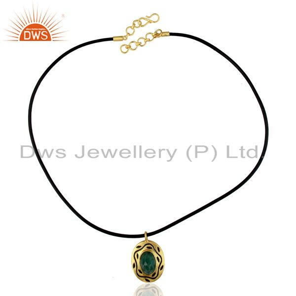 Exporter 18K Yellow Gold Plated Sterling Silver Emerald Pendant With Black Cord Necklace