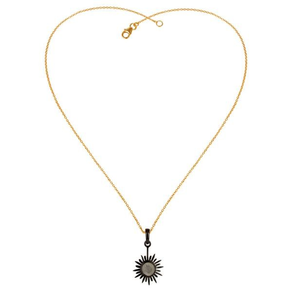 Exporter 18K Gold Plated & Oxidized 925 Sterling Silver Rainbow Moonstone Chain Pendant