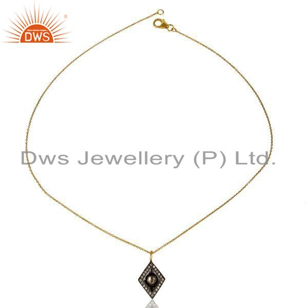 Exporter 14K Yellow Gold Plated 925 Sterling Silver Crystal CZ Polki Chain Pendant
