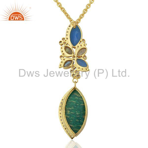 Exporter Amazonite Gemstone Gold Plated Womens Fashion Pendant Supplier