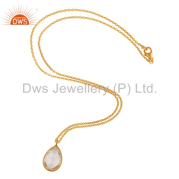 Suppliers 18K Yellow Gold Plated Sterling Silver Crystal Quartz Bezel Set Pendant Necklace