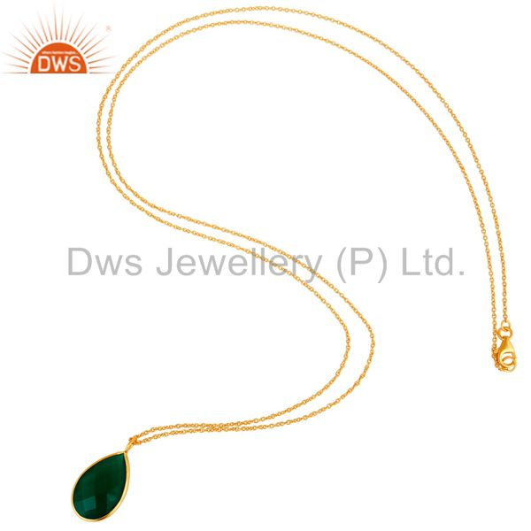 Suppliers 22k Gold Plated Sterling Silver Green Onyx Gemstone Chain Pendant Necklace