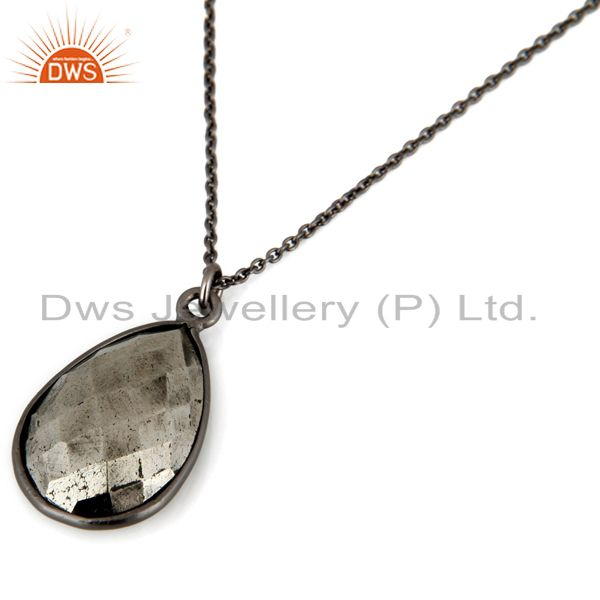 Suppliers Oxidized 925 Sterling Silver Golden Pyrite Bezel Set Drop Pendant With Chain