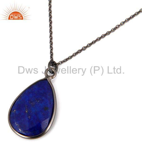 Exporter Oxidized Sterling Silver Lapis Lazuli Gemstone Bezel Set Drop Pendant With Chain