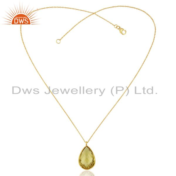 Exporter Lemon Topaz Gemstone Gold Plated Silver Chain Pendant Jewelry