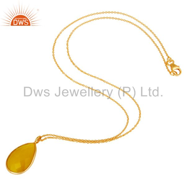 Exporter Bezel-Set Yellow Moonstone 24k Gold Plated Sterling Silver Pendant Necklace