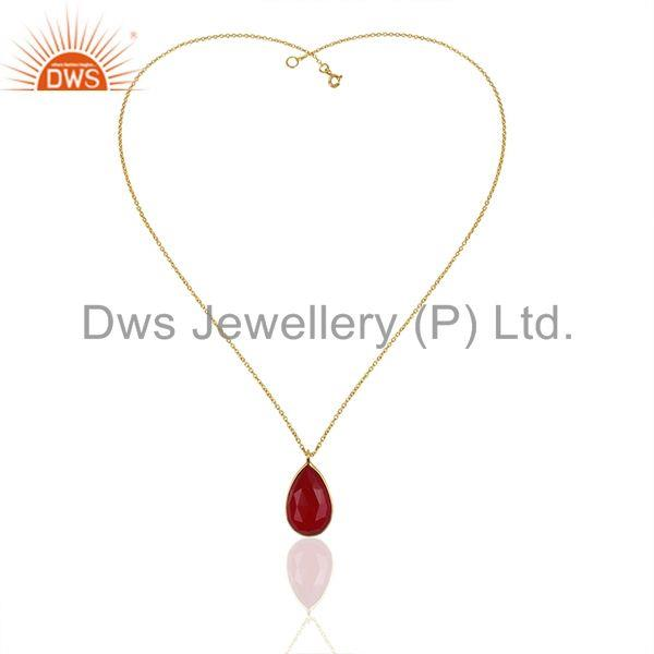 Exporter Red Aventurine Gemstone 925 Silver Gold Plated Chain Pendant Wholesale