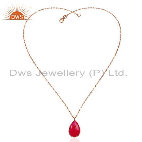 Exporter Rose Gold Plated 925 Silver Pink Chalcedony Gemstone Pendant Manufacturer