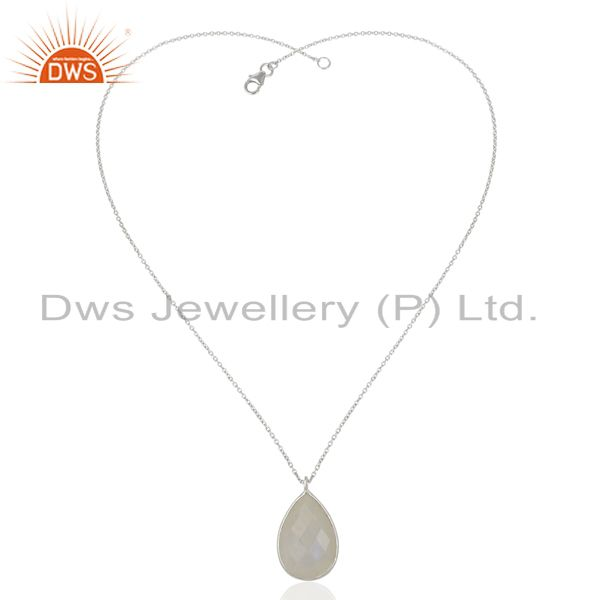 Exporter Rainbow Moonstone 925 Sterling Silver Chain Pendant Necklace Gemstone Jewelry
