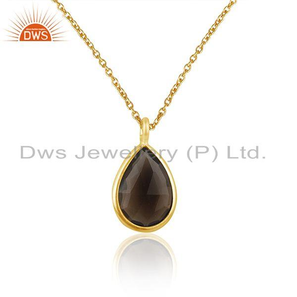 Exporter Smoky Quartz Gemstone Gold Plated Sterling Silver Chain Pendant
