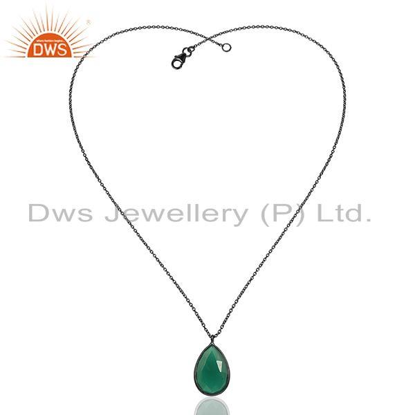 Exporter Green Onyx Gemstone Black Rhodium Plated 925 Silver Pendant Manufacturer