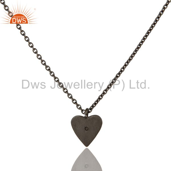 Exporter Black Oxidized 925 Sterling Silver Heart Design White Topaz Chain Pendant