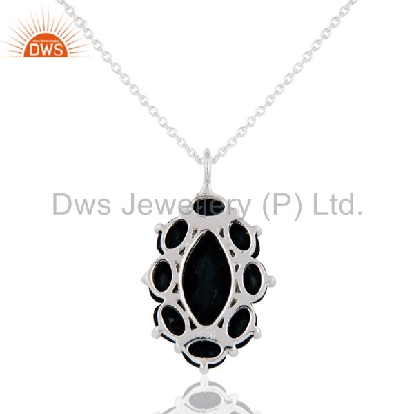 Exporter 925 Sterling Silver Solitaire Black Onyx Gemstone Pendant Necklace