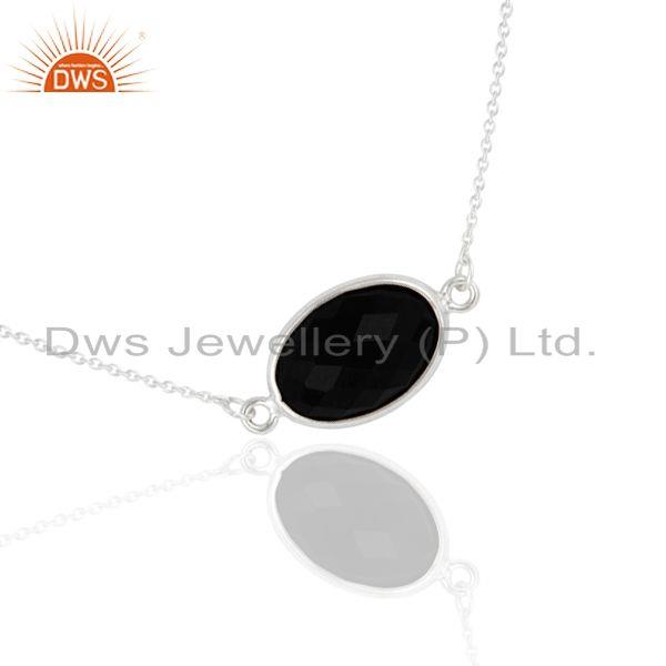 Suppliers 925 Sterling Silver Black Onyx Faceted Gemstone Pendant Chain Necklace