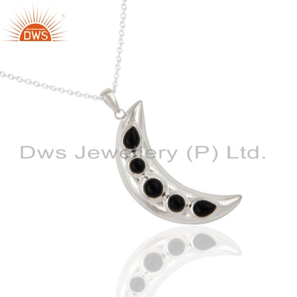 Exporter 925 Sterling Silver Black Onyx Gemstone Half Moon Design Pendant