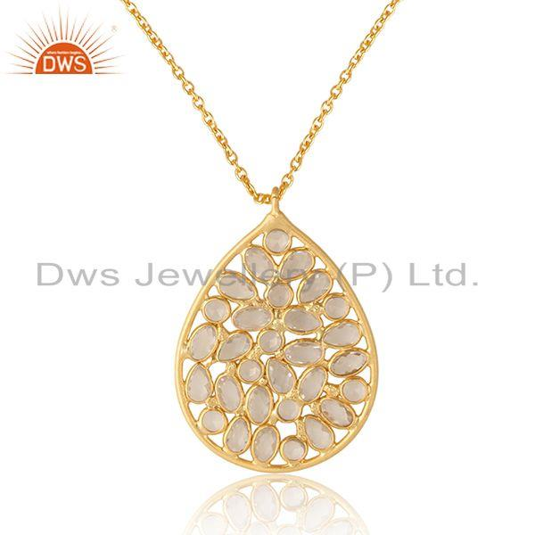 Designer necklace in yellow gold on silver 925 and cz